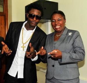 Chameleone with Kadaga at Parliament