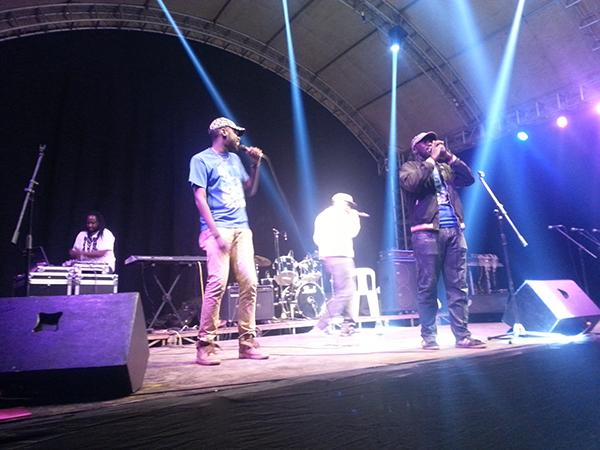 Benezeri (in blue), Sam Kimera and Ruyonga (in white)