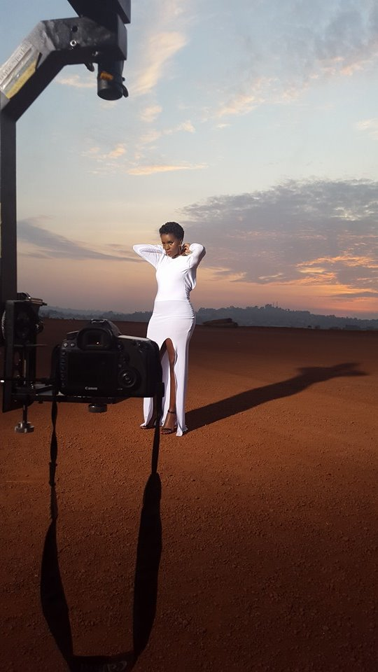 Juliana Kanyomozi on set of her new video