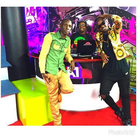Eddy Kenzo with NTV the beat host Douglas Lwanga and dj Professor Jay.