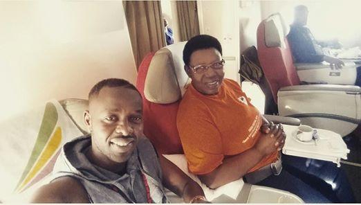 Eddy Kenzo takes a selfie with Dr. Miria Matembe