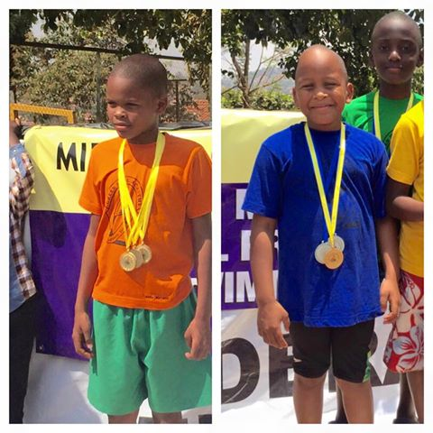 Jose Chameleone's sons Abba (left) and Alpha (right) scoop medals
