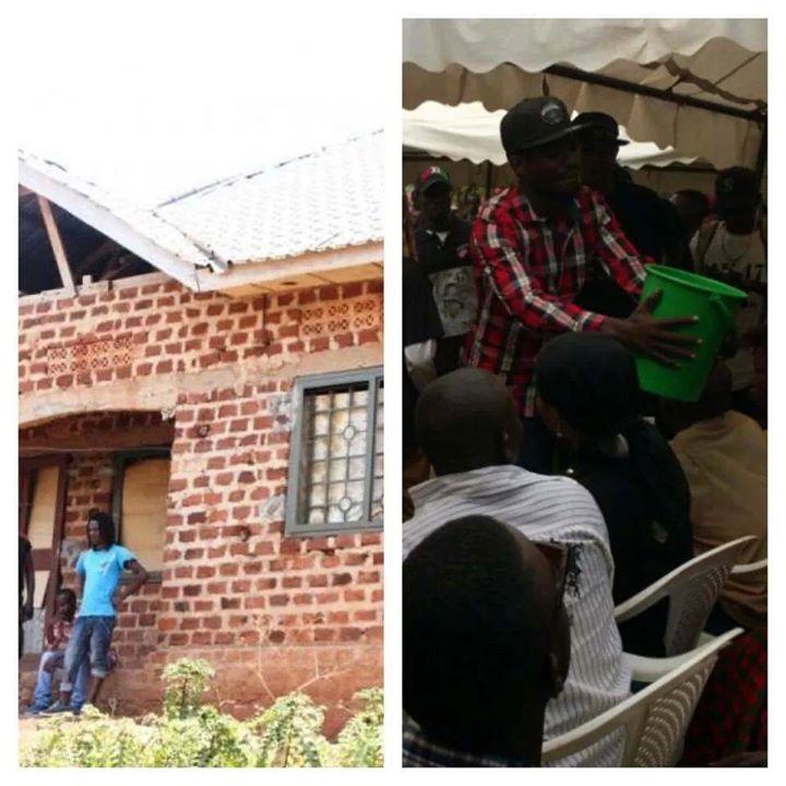 Ak47's house (left) and Bobi Wine fundraising.