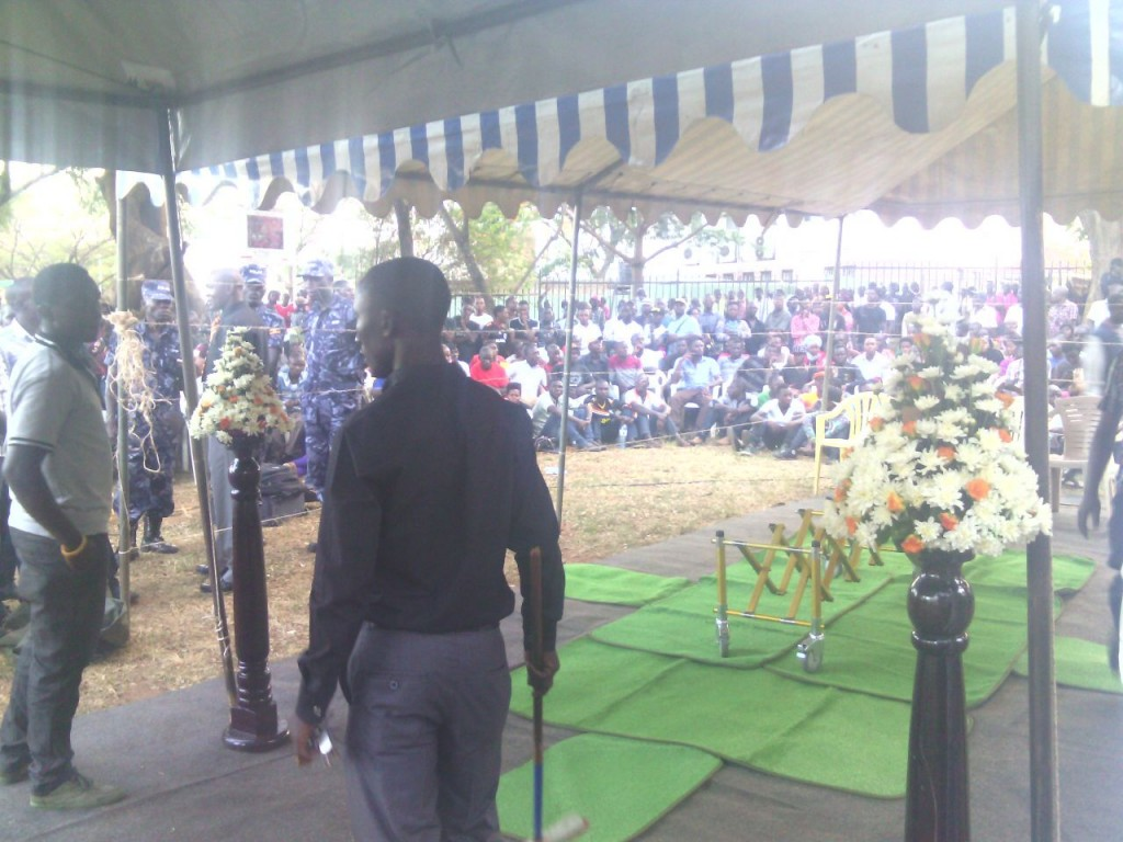 A-Plus tent where AK47 body will be placed for the vigil
