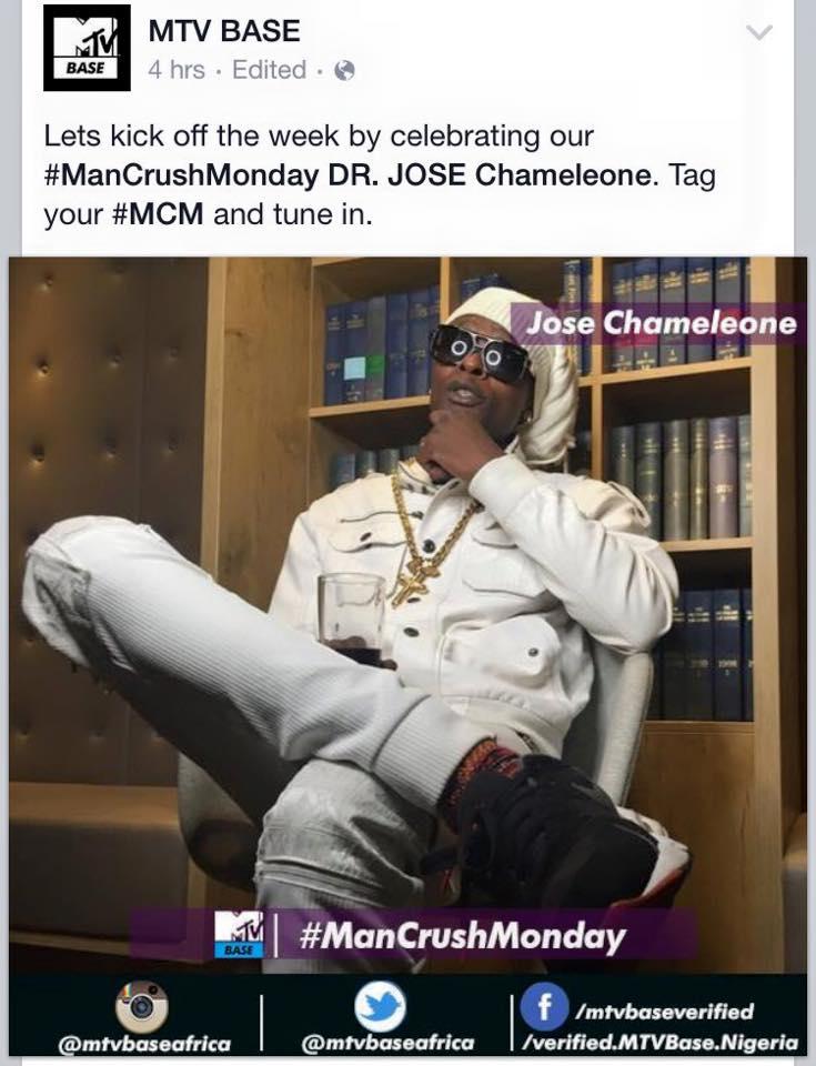 MTV Base' man crush Monday is Jose Chameleone