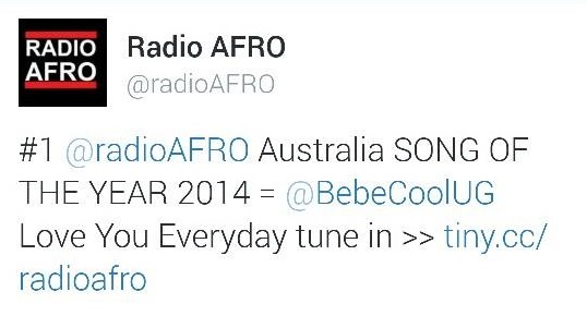 Radio Afro made Bebe Cool's win official by tweeting about it.