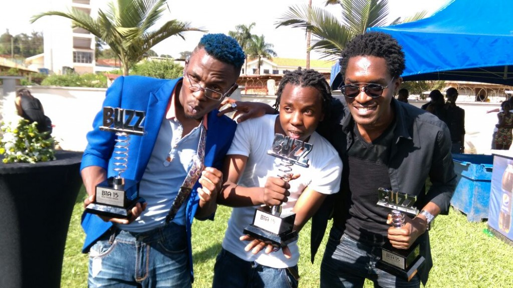 Nutty Neithan, Nessim and A Pass show off their awards.