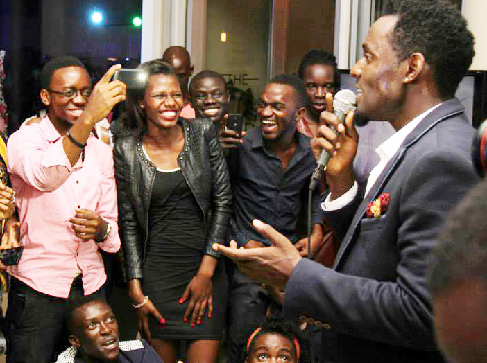 Maurice Kirya at his Sound Cup restaurant.
