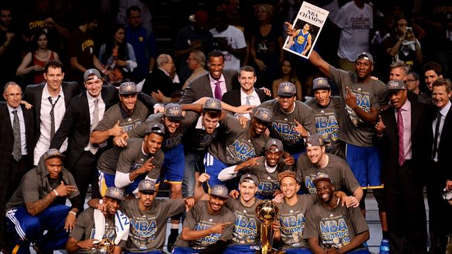 The Golden State Warriors celebrate their victory.