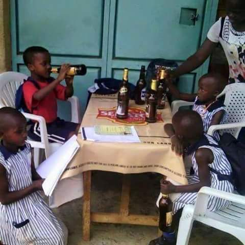 This photo of kids drinking has gone viral.