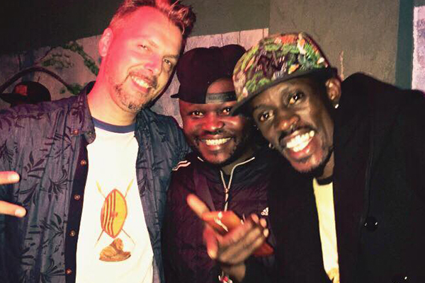 Musoke with Vampino and a friend