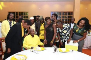 Museveni talks to the different artistes