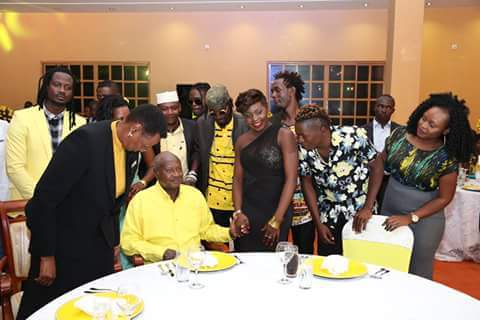 Museveni talks to various artistes