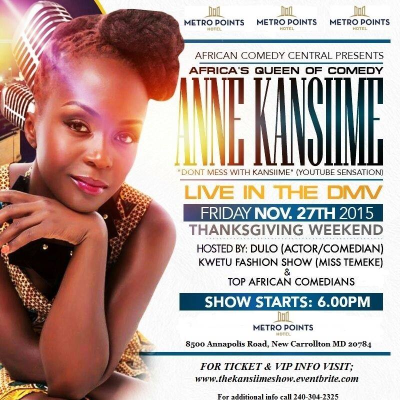 Anne Kansiime set for a massive show in Washington DC