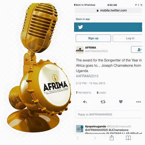 Jose Chameleone shares the tweet from Afrimma