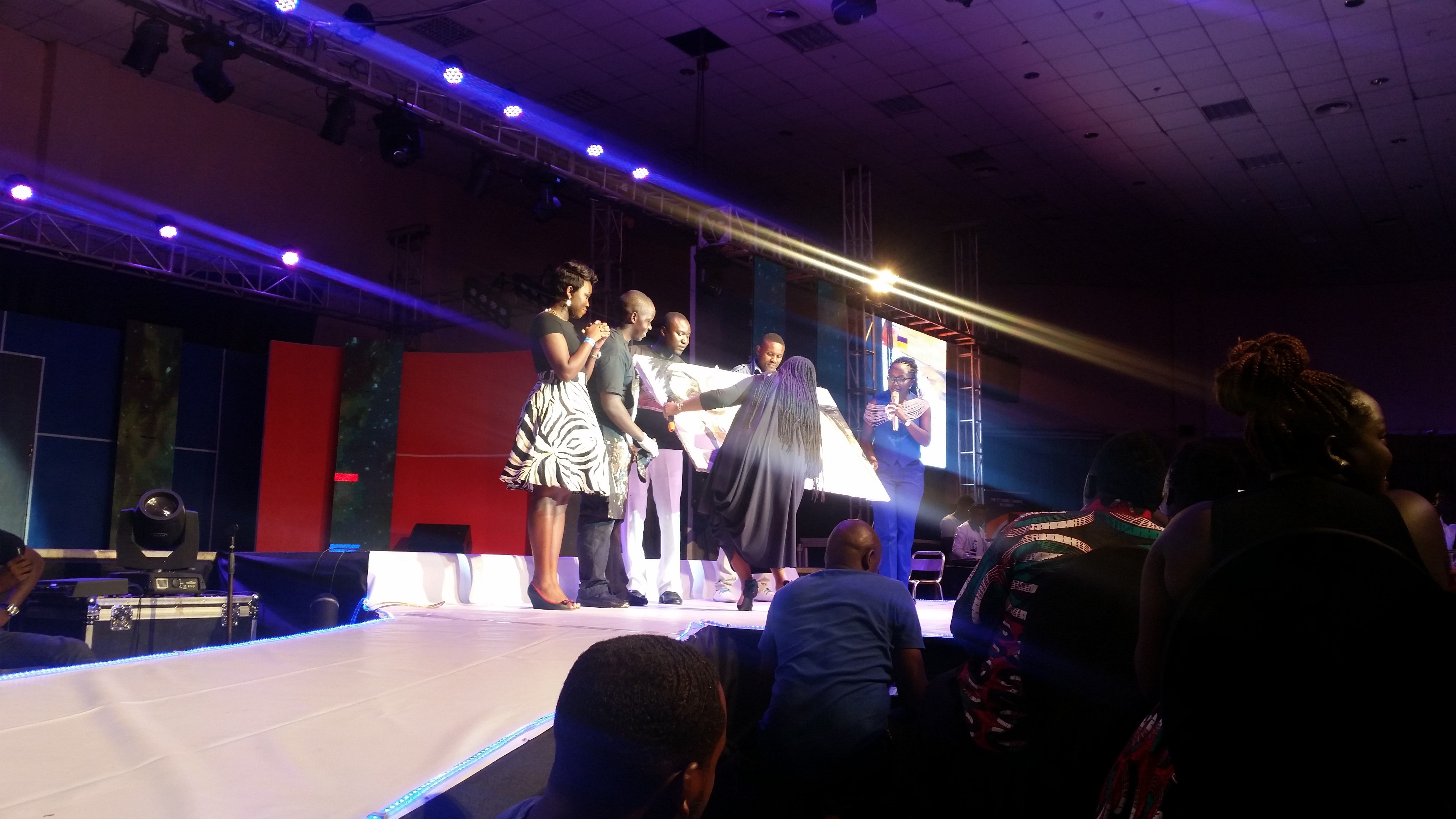 Yvonne Chaka Chaka is presented with a painting