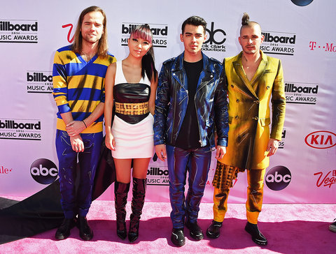 LAS VEGAS, NV - MAY 22: (L-R) Recording artists Jack Lawless, JinJoo Lee, Joe Jonas and Cole Whittle of music group DNCE attend the 2016 Billboard Music Awards at T-Mobile Arena on May 22, 2016 in Las Vegas, Nevada. (Photo by Steve Granitz/WireImage)