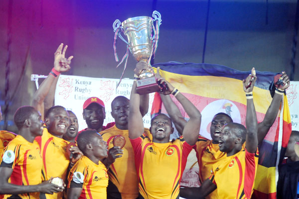 The team after becoming Africa 7s rugby champions