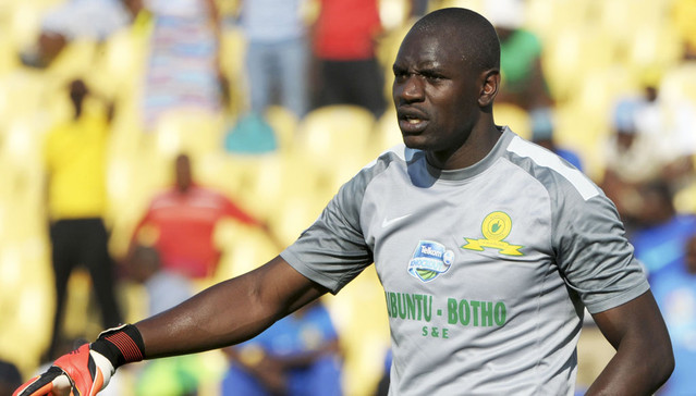 Denis Onyango of Mamelodi Sundowns during the 2014 Telkom Knockout Semi Final match between Platinum Stars and Mamelodi Sundowns at Royal Bafokeng Stadium, Rustenburg on the 09 November 2014  ©Muzi Ntombela/BackpagePix