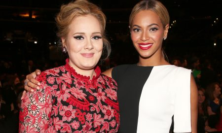 LOS ANGELES, CA - FEBRUARY 10:  Singers Adele (L) and Beyonce attend the 55th Annual GRAMMY Awards at STAPLES Center on February 10, 2013 in Los Angeles, California.  (Photo by Christopher Polk/Getty Images for NARAS)