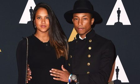 Recording artist Pharrell Williams and Helen Lasichanh attend the 8th Annual Governors Awards hosted by the Academy of Motion Picture Arts and Sciences on November 12, 2016, at the Hollywood & Highland Center in Hollywood, California.  The Academy's Board of Governors is presenting Honorary Oscar Awards to actor Jackie Chan, film editor Anne Coates, casting director Lynn Stalmaster and documentary filmaker Frederick Wiseman. / AFP / Valerie Macon        (Photo credit should read VALERIE MACON/AFP/Getty Images)