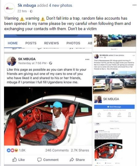 """""""It Wasn't Me""""- SK Mbuga Distances Himself From Fake"""
