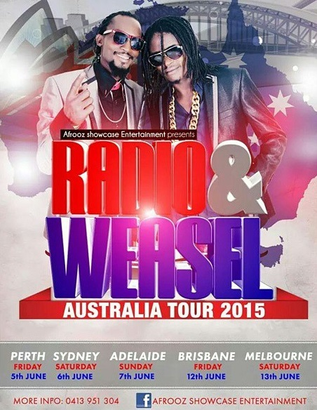 Radio and Weasel's official poster for their Australian Tour.