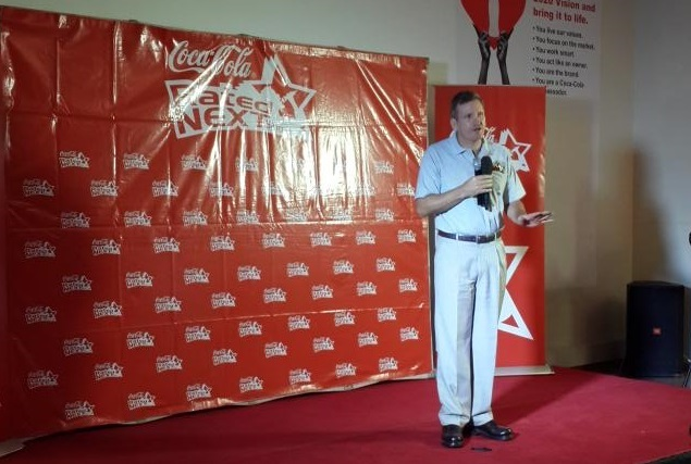 Coca Cola MD Norton Kingwell delivers talks about opportunities created by the talent search. (Photo By Urban TV)