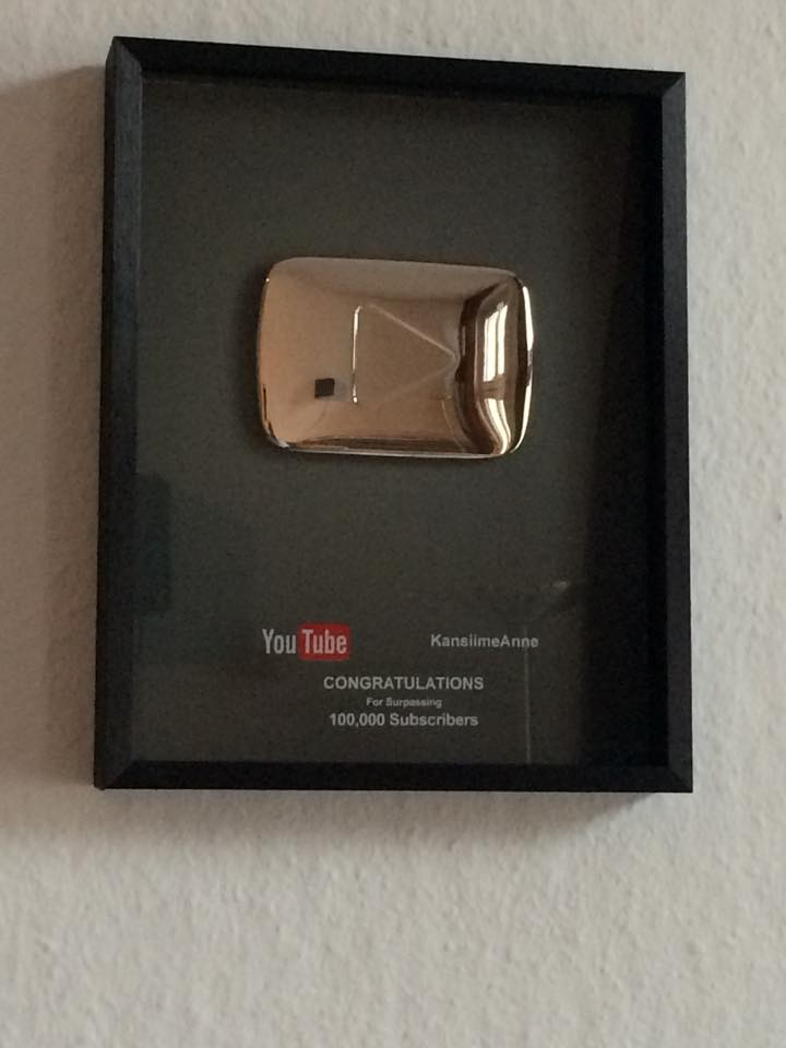 The YouTube silver play button rewarded to Anne Kansiime