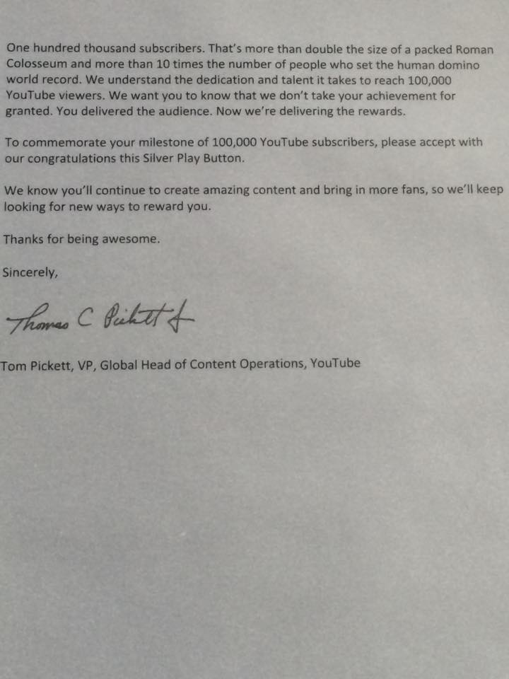 Letter from the YouTube VP