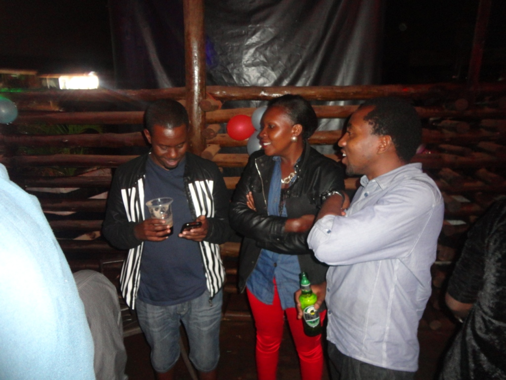 Yes we comedians can have fun too. Richard and Hannington (in blue shirt)
