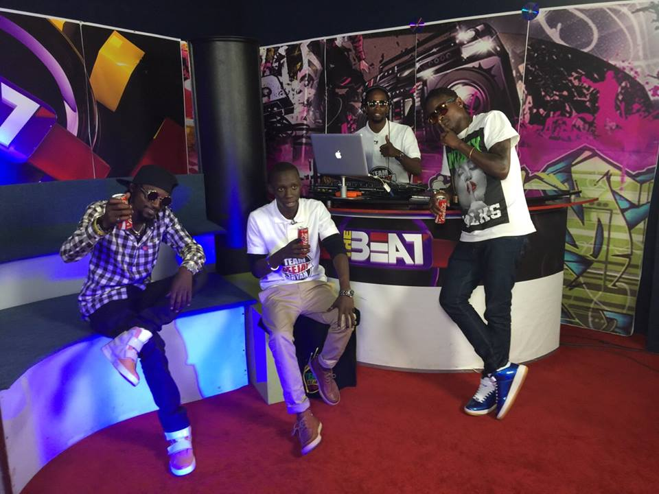Radio and Weasel with Douglas Lwanga when they announced their 15 song album with Wizkid