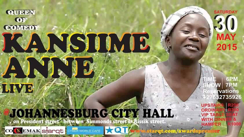 Anne Kansiime will definitely leave some 'broken ribs' in South Africa.