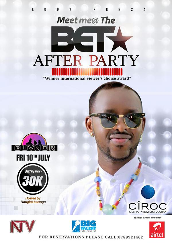 Eddy Kenzo's BET After party to be held at club Guvnor