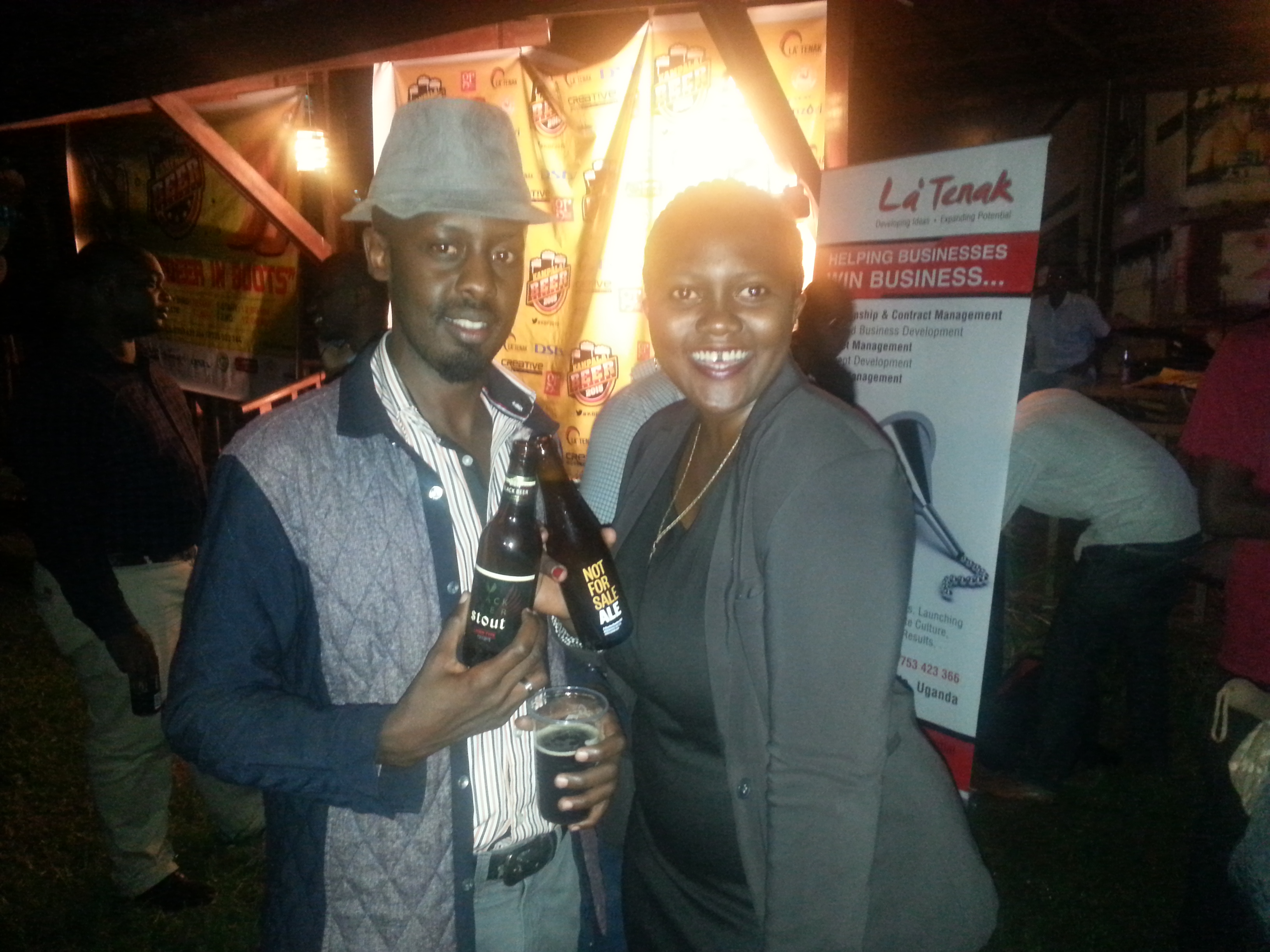 La 'Tenak's Thecla and a colleague at the Kampala Beer Festival launch