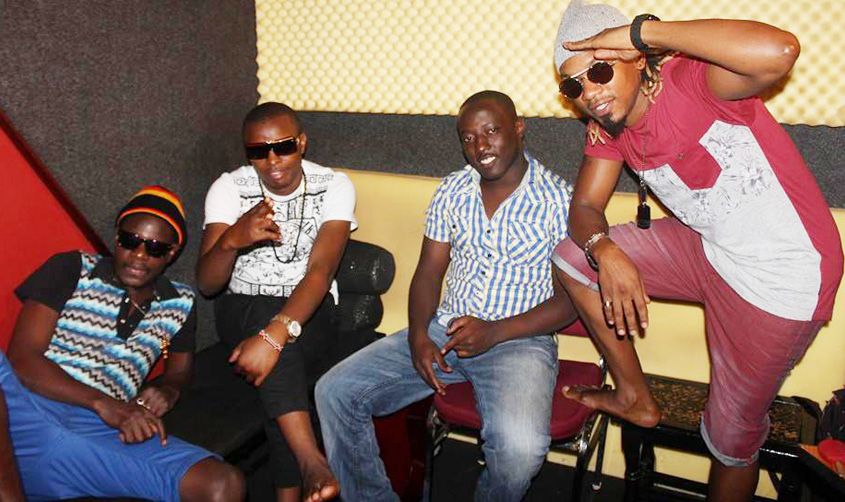 D-King with Exodus (in red) and friends in studio