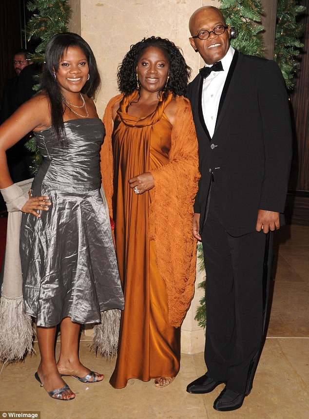 Samuel L Jackson with his wife and daughter.