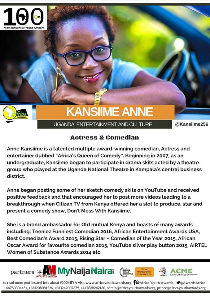 Anne Kansiime makes the top 100 influential African list
