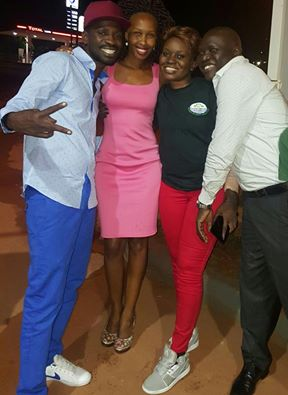 Bobi Wine hangs out with his wife and Jackie Chandiru